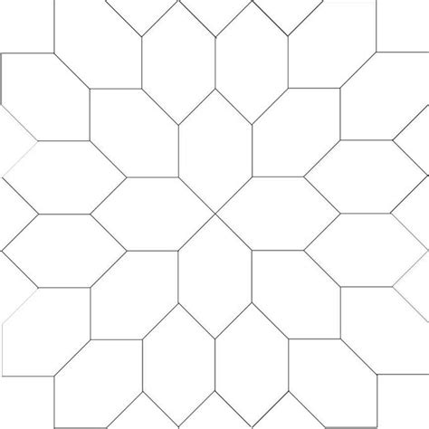 Patchwork Templates To Print - line drawing for boston elongated hexagon block