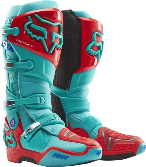 red dirt bike boots fox racing new 2016 mx instinct le ken roczen aqua red