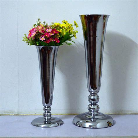 Metal Vases For Flowers by 2pcs Lot Silver Metal Wedding Flower Vase Table