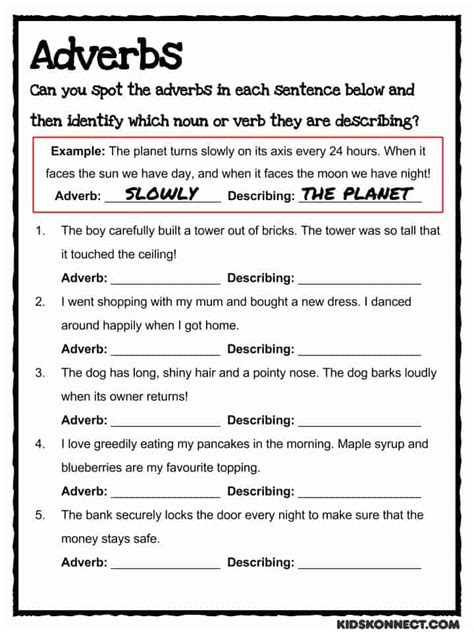 adverb study worksheet common teaching resource