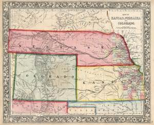 colorado kansas map map of kansas nebraska and colorado barry