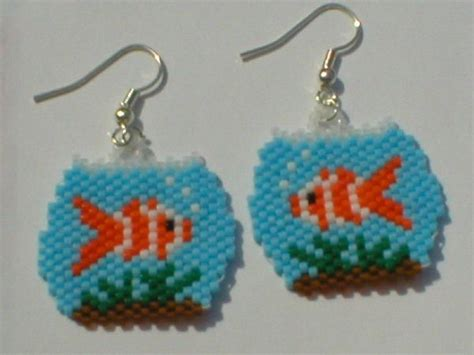 misia lovegood goldfish bowl earrings beaded fish i made pinterest