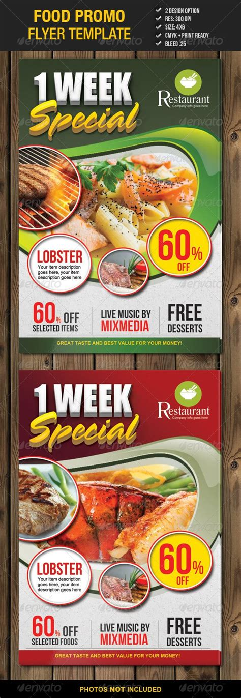 food promo flyer template 2 fonts restaurant and flyers
