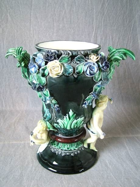 Flower Vases For Sale by Rorstrand Majolica Putti Flower Vase For Sale Antiques