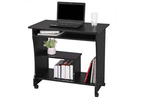 Computer Desk Trolley Songmics Trolley Table Computer Desk 2 Shelves 4 Wheelsstudy Workstation Lcd858b Ebay