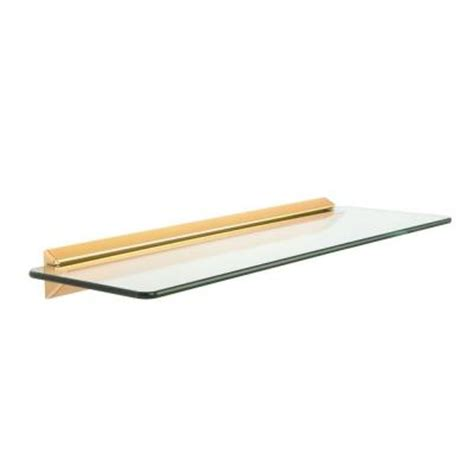 Decorative Shelves Home Depot by Knape Vogt 6 In X 18 In Brass Glass Decorative Shelf