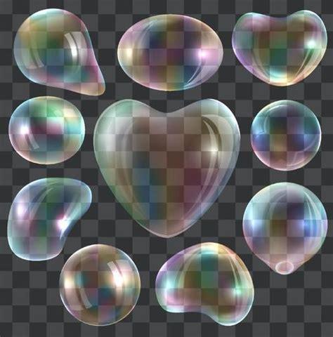 transparent rainbow bubble heart shape vector