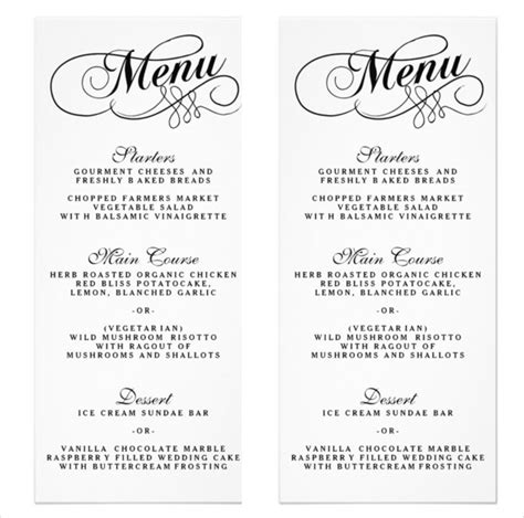 wedding menu sles templates wedding menu template beepmunk