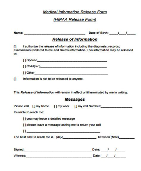 general release of information form template general release form sle 8 exles in word pdf