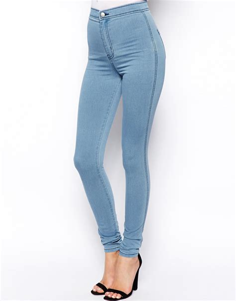 high waisted light wash jeans asos rivington high waist denim jeggings in light wash in
