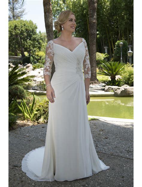 Plus Size Informal Modest Wedding Dresses 2017 Ruched Long