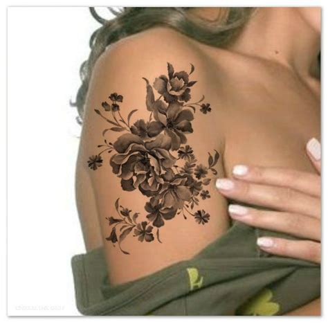 fake rose tattoos temporary shoulder flower ultra thin realistic