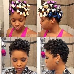 Short Hair Transition Styles - hairstyle for the week using perm rod to create natural curls