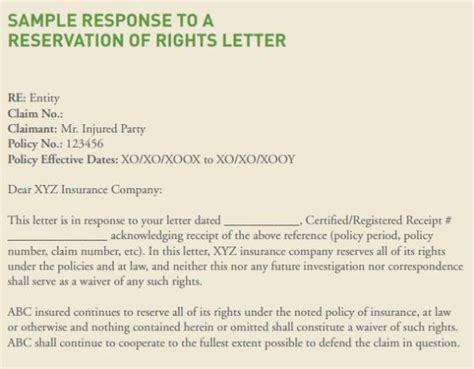 Reservation Letter And Response Should You Respond To A Reservation Of Rights Letter Risk Management Monitor