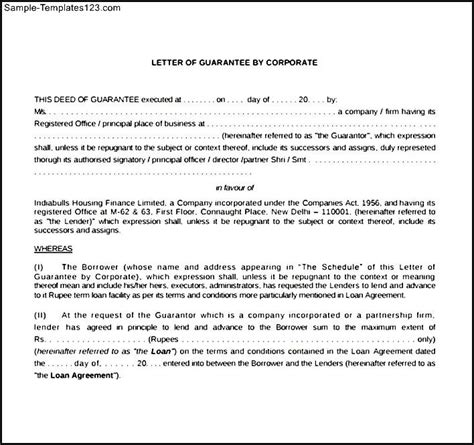 corporate contract template sle corporate guarantee agreement sle templates