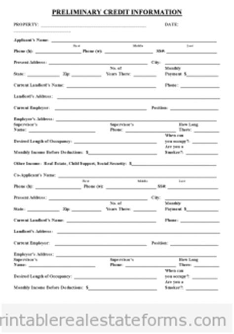 Credit Application Form For Renters Free Printable Preliminary Credit Application Form Pdf