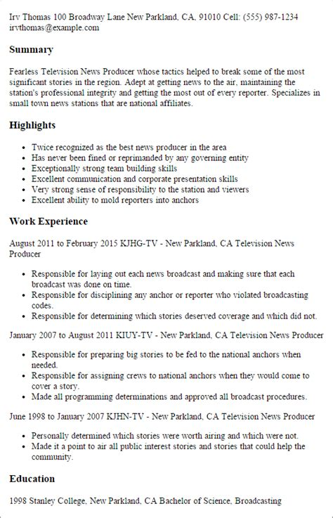 Producer Resume by 1 Television News Producer Resume Templates Try Them Now Myperfectresume