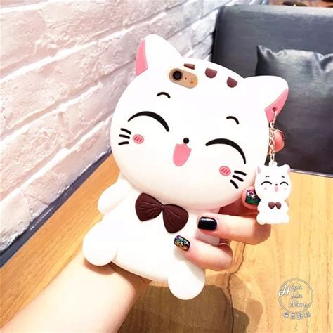 Iphone 7 Plus Soft 3d White Cat Casing Tpu Cover Bumper Armor iphone x 8 7 plus cases 3d white black lucky cat smile cat soft silicone cases for iphone