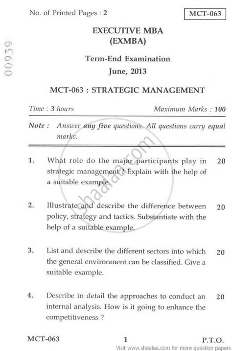 Mba In Risk Management Ignou by Strategic Management 2013 June Management Executive