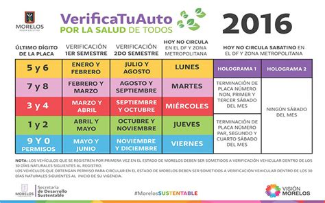 presentan calendario de verificacin vehicular 2016 para verificaci 243 n vehicular calendario costos y requisitos