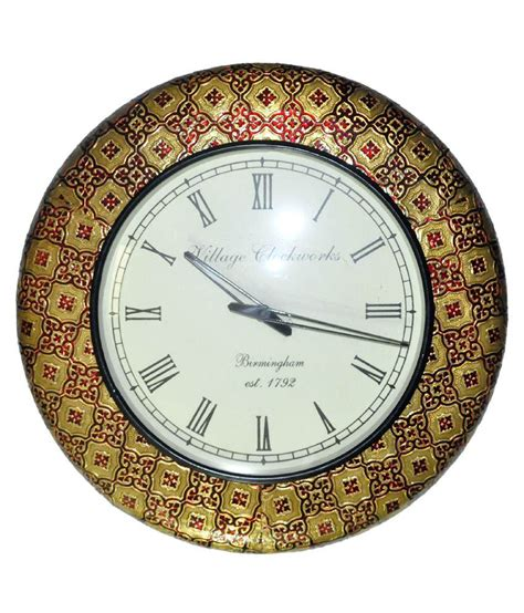 buy lal haveli wooden wall clock living room online at low lal haveli yellow rajasthani vintage design antique wall