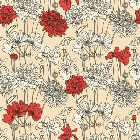 hand painted flower pattern hand painted chrysanthemum pattern vector pattern free