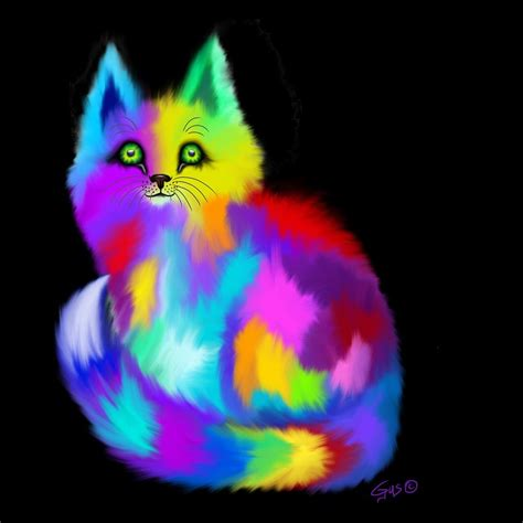 Another Rainbow Fluffy Cat Painting by Nick Gustafson