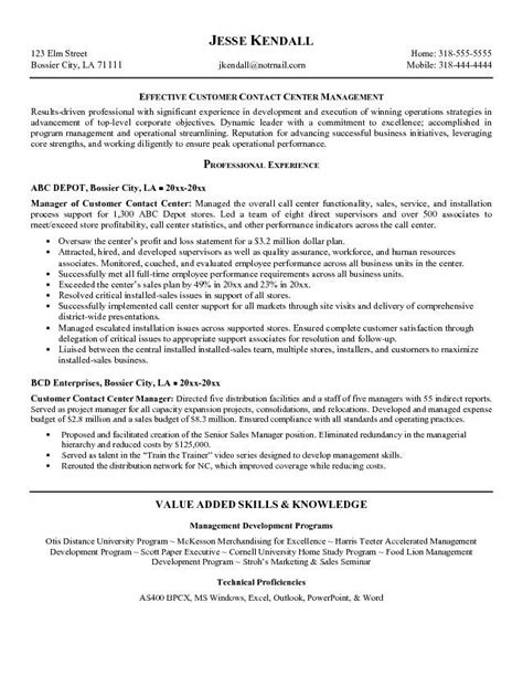customer service call center resume sle resume resume templates and templates on