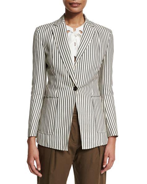 striped buttoned blazer 3 1 phillip lim striped single button blazer in blue lyst