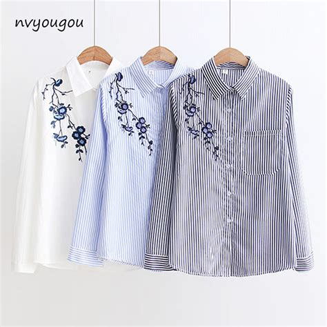 43509 Blue Striped Embriodery Blouse aliexpress buy autumn floral embroidery white sleeve blouses blue striped shirt