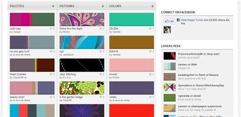 website colour combinations colourlovers for diy website designers