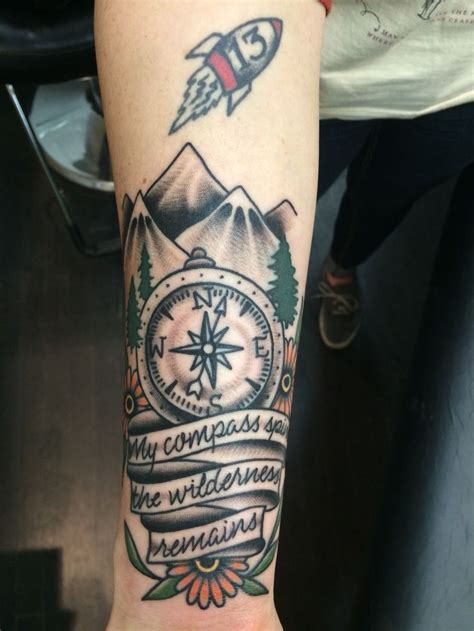 bright eyes tattoo my new quot my compass spins the wilderness remains