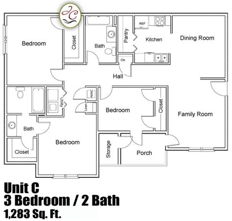 3 bedroom unit floor plans unit c floor plan at jackson crossing apartments enterprise alabama