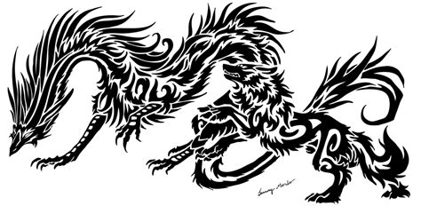 dragon and wolf tribal 2 by sunima on deviantart