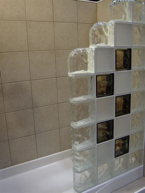 Colored And Frosted Glass Block Shower Wall With Step Down Glass Block Showers Small Bathrooms