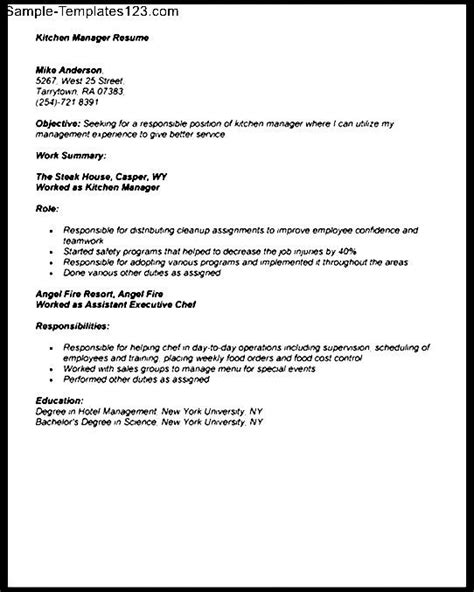 kitchen manager resume resume sle for kitchen manager sle templates