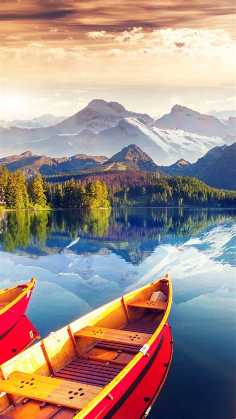 wallpaper lake boat sky colors  nature