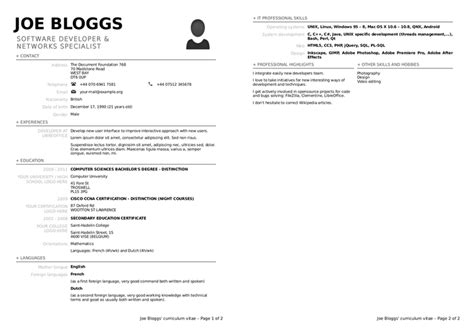 templates resume libreoffice cv template for libreoffice image collections