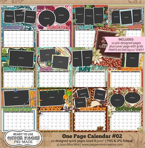 scrapbook calendar template 12 best images about digital scrapbook calendars on