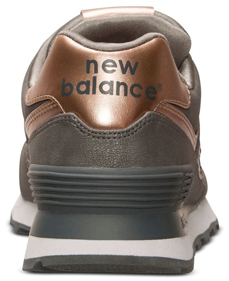 New Balance Silver Brown lyst new balance s 574 precious metals casual sneakers from finish line in brown