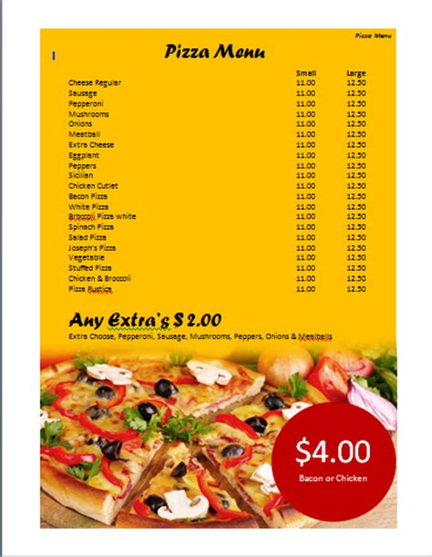 pizza menu templates pizza menu template microsoft word templates