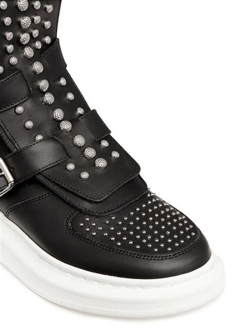 mcqueen chunky outsole stud leather sneaker boots in black lyst
