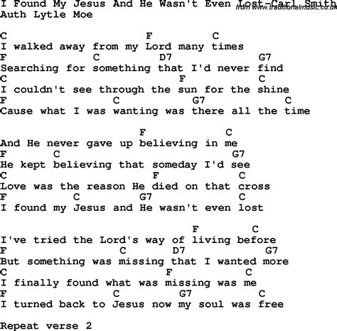 my lyrics carl country southern and bluegrass gospel song i found my
