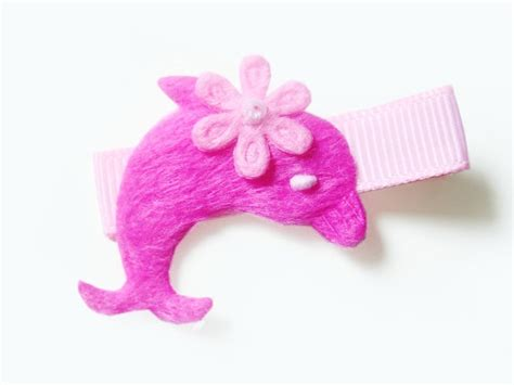 how to make a dolphin ribbon sculpture hot pink dolphin hair clip no slip clip by bloomcreations