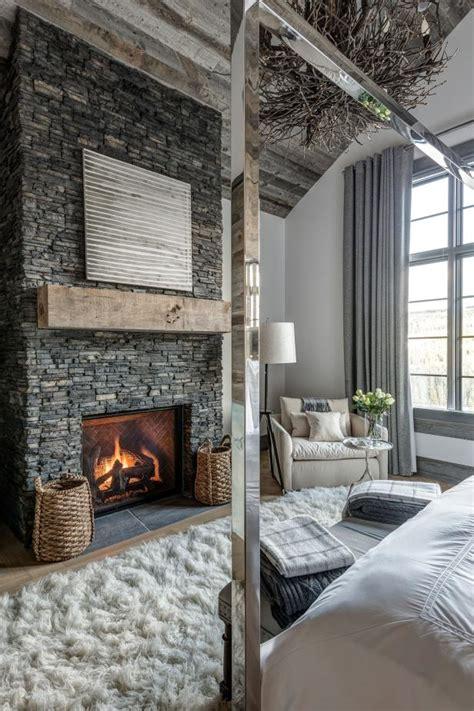 elegant master bedroom mixes rustic  contemporary
