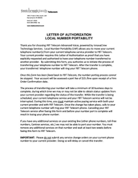authorization letter format for local guardian letter of authorization local number port fill