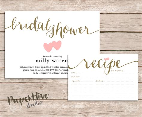 recipe cards for bridal shower invitations bridal shower invitation and recipe card set rustic bridal