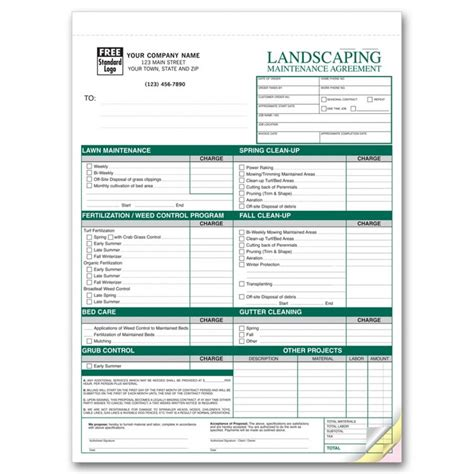landscaping contract template landscaping agreement forms 6523 at print ez