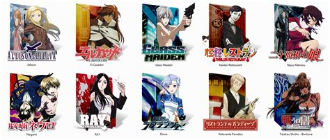 10 mostly shows in a coloured pack animeicons