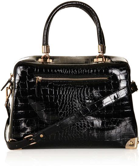 Patent 70s Luggage At Topshop by Topshop Patent Croc Handle Bag In Black Lyst